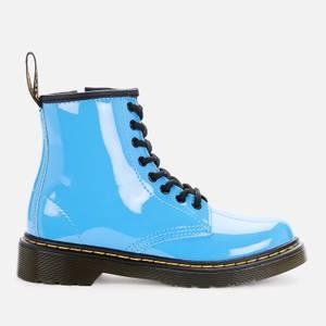 Dr Martens Kids' 1460 Patent Lamper Lace Up Boots - Mid Blue Patent Lamper
