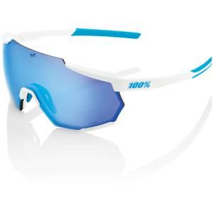100% Racetrap Sunglasses with HiPER Multilayer Mirror Lens - SE Movistar Team White/Blue