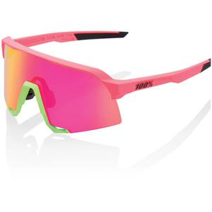 100% S3 Sunglasses with HiPER Multilayer Mirror Lens - Neon Pink/Purple