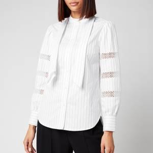 See By Chloé Women's Stripe Cotton Poplin Shirt - Blue