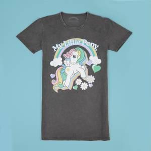 My Little Pony Starshine Rainbow Women's T-Shirt Dress - Black Acid Wash