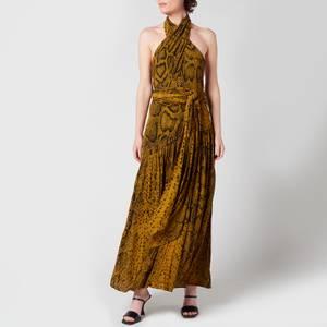 Proenza Schouler Women's Snakeprint Crepe Cross Front Dress - Brown Multi