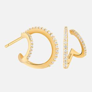 Astrid & Miyu Women's Illusion Crystal Hoops In Gold - Gold