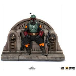Iron Studios Star Wars The Mandalorian Deluxe Art Scale Statue 1/10 Boba Fett on Throne 18 cm