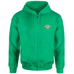Harry Potter Slytherin Embroidered Unisex Zipped Hoodie - Green