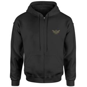 The Legend Of Zelda Triforce Embroidered Unisex Zipped Hoodie - Black