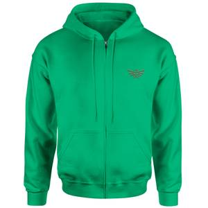 The Legend Of Zelda Triforce Embroidered Unisex Zipped Hoodie - Kelly Green