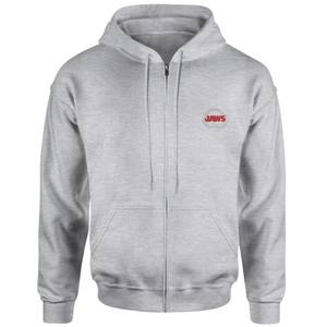 Jaws Logo Embroidered Unisex Zipped Hoodie - Grey