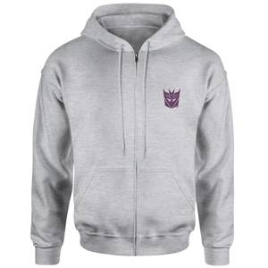 Transformers Decepticon Embroidered Unisex Zipped Hoodie - Grey