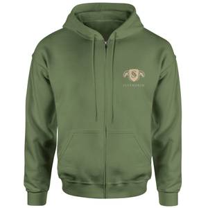Harry Potter Slytherin Embroidered Unisex Zipped Hoodie - Khaki