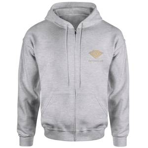 Harry Potter Ravenclaw Embroidered Unisex Zipped Hoodie - Grey