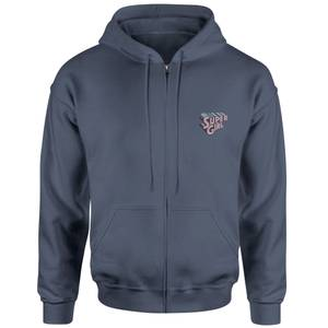 Supergirl Embroidered Unisex Zipped Hoodie - Navy