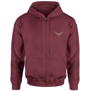 Harry Potter Golden Snitch Embroidered Unisex Zipped Hoodie - Burgundy