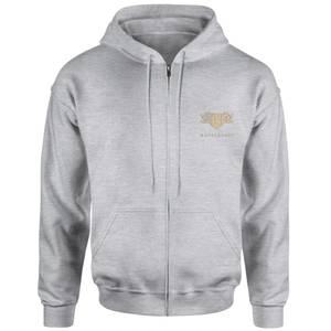 Harry Potter Hufflepuff Embroidered Unisex Zipped Hoodie - Grey