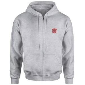 Transformers Autobot Embroidered Unisex Zipped Hoodie - Grey