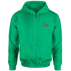 The Joker Embroidered Unisex Zipped Hoodie - Green