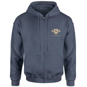 Harry Potter Slytherin Embroidered Unisex Zipped Hoodie - Navy