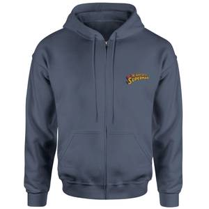 Superman Embroidered Unisex Zipped Hoodie - Navy