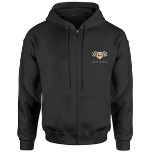 Harry Potter Hufflepuff Embroidered Unisex Zipped Hoodie - Black
