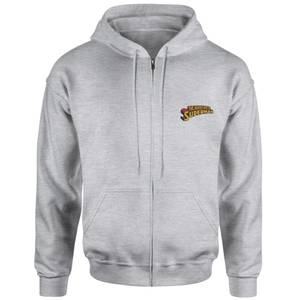 Superman Embroidered Unisex Zipped Hoodie - Grey