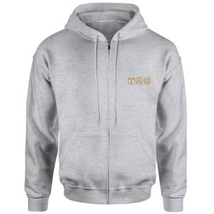 Back To The Future Icons Embroidered Unisex Zipped Hoodie - Grey