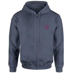 Transformers Decepticon Embroidered Unisex Zipped Hoodie - Navy