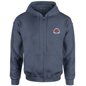 Jaws Logo Embroidered Unisex Zipped Hoodie - Navy