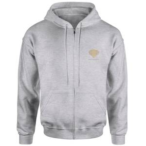 Harry Potter Gryffindor Crest Embroidered Unisex Zipped Hoodie - Grey