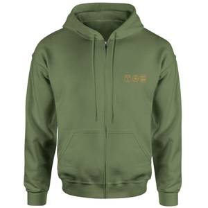 Back To The Future Icons Embroidered Unisex Zipped Hoodie - Khaki