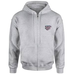 Supergirl Embroidered Unisex Zipped Hoodie - Grey