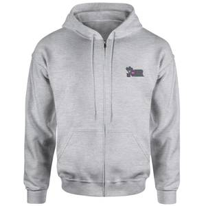 The Joker Embroidered Unisex Zipped Hoodie - Grey