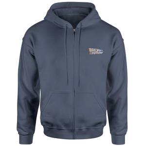 Back To The Future Logo Embroidered Unisex Zipped Hoodie - Navy