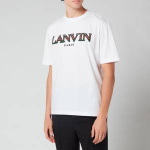 Lanvin Men's Curb Lace Embroidered T-Shirt - Optic White