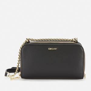 DKNY Women's Felicia - Dbl Zip Cross Body Bag - Dundee Lthr - Black/Gold