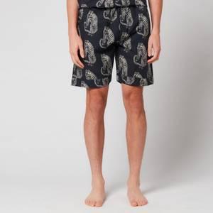 Desmond & Dempsey Men's Tiger Print Shorts - Black/Cream