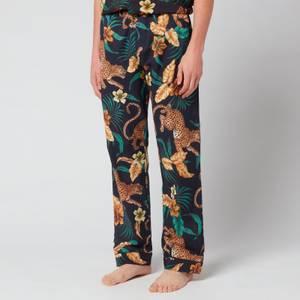 Desmond & Dempsey Men's Soleia Trousers - Black/Yellow