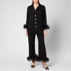 Sleeper Women's Party Pyjama Set With Double Feathers - Black