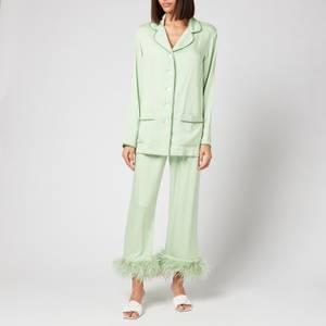 Sleeper Women's Party Pyjama Set With Feathers - Mint