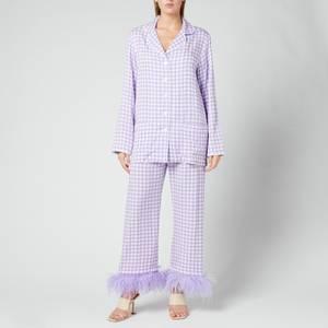 Sleeper Women's Party Pyjama Set With Feathers - Lavender & White
