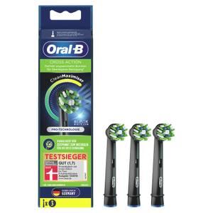 Oral-B CrossAction Black Edition Aufsteckbürsten mit CleanMaximiser-Borsten für überlegene Reinigung, 3Stück