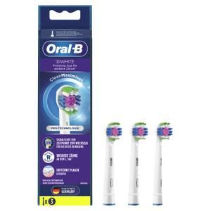 Oral-B 3DWhite Aufsteckbürsten mit CleanMaximiser-Borsten für weißere Zähne, 3Stück