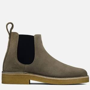 Clarks Originals Men's Desert Chelsea 2 Suede Boots - Grey Interest