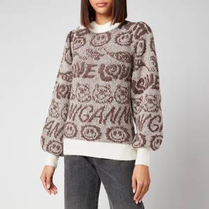 Ganni Women's Soft Wool Logo Knit Jumper - Egret