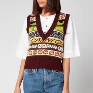 Ganni Women's Wool Mix Logo Vest Jumper - Multi
