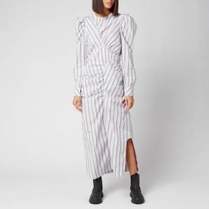 Ganni Women's Stripe Cotton Dress - Misty Lilac