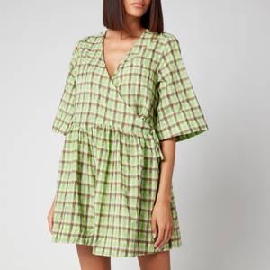 Ganni Women's Seersucker Check Wrap Dress - Oyster Gray