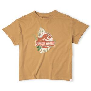 Jurassic World Large Logo Women's Cropped T-Shirt - Tan