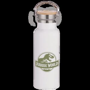 Jurassic World Green Logo Portable Insulated Water Bottle - White