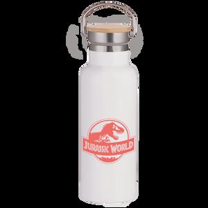 Jurassic World Pink Logo Portable Insulated Water Bottle - White