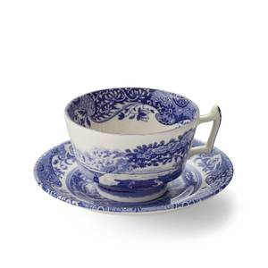 Spode Blue Italian Breakfast Teacup and Saucer (Set of 4)